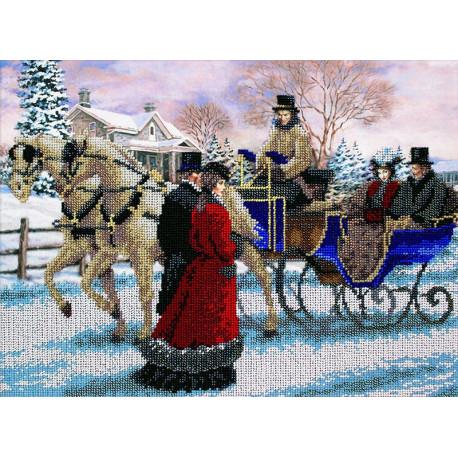 Зимняя прогулка Набор для частичной вышивки бисером Паутинка Б-1489