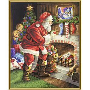Санта Клаус у камина Раскраска по номерам акриловыми красками Schipper (Германия)
