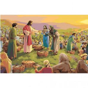 Чудеса Иисуса Христа. Пять хлебов 80х120 Раскраска картина по номерам на холсте