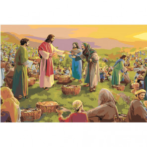 Чудеса Иисуса Христа. Пять хлебов 100х150 Раскраска картина по номерам на холсте