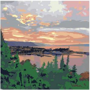 Закат в морской бухте 80х80 Раскраска картина по номерам на холсте