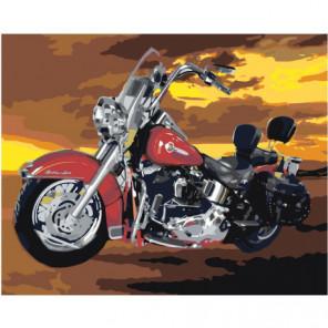Красный мотоцикл 80х100 Раскраска картина по номерам на холсте
