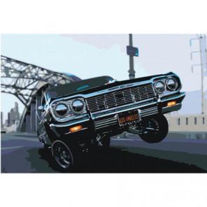 Автомобиль лоурайдер Лос-Анджелес 100х150 Раскраска картина по номерам на холсте