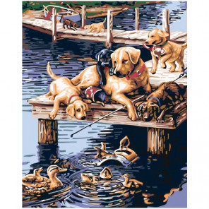 Собаки на пристани 100х125 Раскраска картина по номерам на холсте