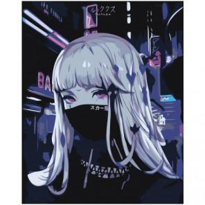 Девушка аниме в черной повязке Раскраска картина по номерам на холсте