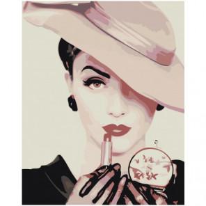 Женщина в шляпе 80х100 Раскраска картина по номерам на холсте