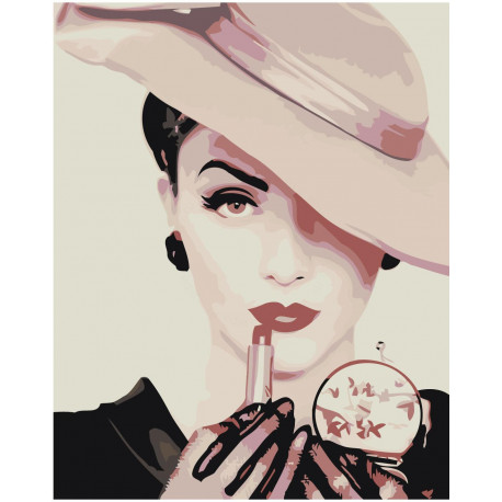 Женщина в шляпе Раскраска картина по номерам на холсте Z ...