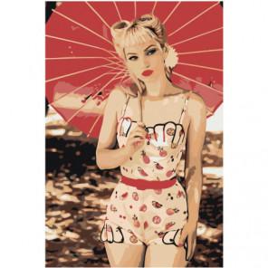 Девушка с зонтом пин ап 100х150 Раскраска картина по номерам на холсте