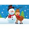 Снеговик и олень Алмазная мозаика на подрамнике