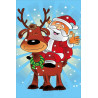 Санта на олене Алмазная мозаика на подрамнике