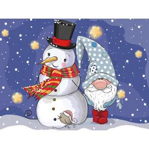 Гном и снеговик Алмазная мозаика на подрамнике LE100
