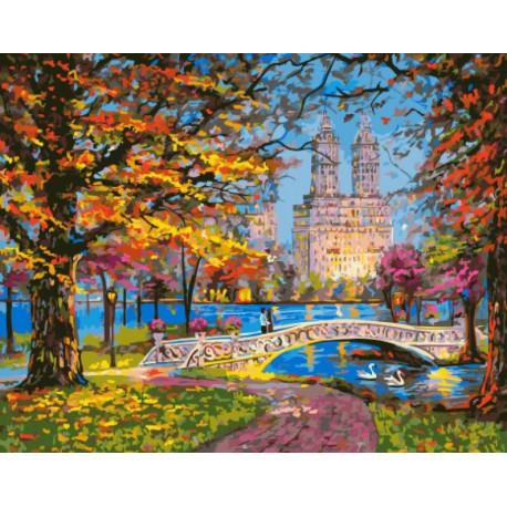 Осень в городском парке Раскраска картина по номерам на ...