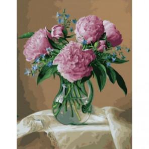 Пионы в стекляной вазе Раскраска картина по номерам на холсте