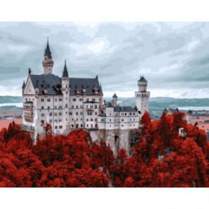 Замок в багряной листве Раскраска картина по номерам на холсте