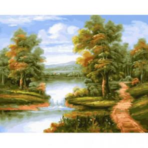 Тропинка к водоему Раскраска картина по номерам на холсте