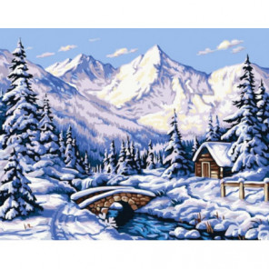Зимнее предгорье Раскраска картина по номерам на холсте