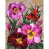 Бабочка и лилии Раскраска картина по номерам на холсте
