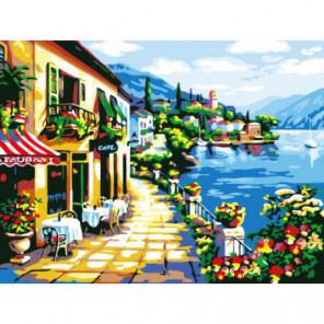Кафе у побережья Раскраска картина по номерам на холсте