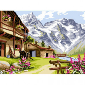 Весна в горах Раскраска картина по номерам на холсте