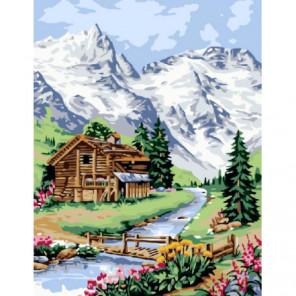 Альпийский домик Раскраска картина по номерам на холсте