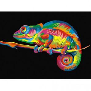Радужный хамелеон Раскраска картина по номерам на холсте
