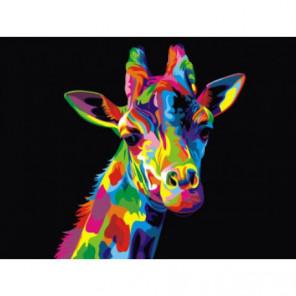 Радужный жираф Раскраска картина по номерам на холсте