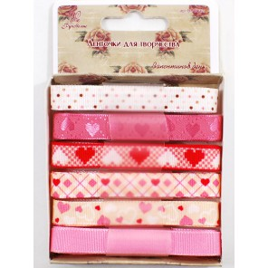 Сердечки на розовом Набор тесьмы декоративной для скрапбукинга, кардмейкинга Рукоделие