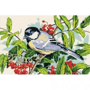 Птичка на рябине Раскраска картина по номерам на холсте