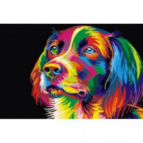 Радужный пёс Раскраска картина по номерам на холсте