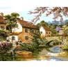 Двухэтажные домики у реки Раскраска картина по номерам на холсте