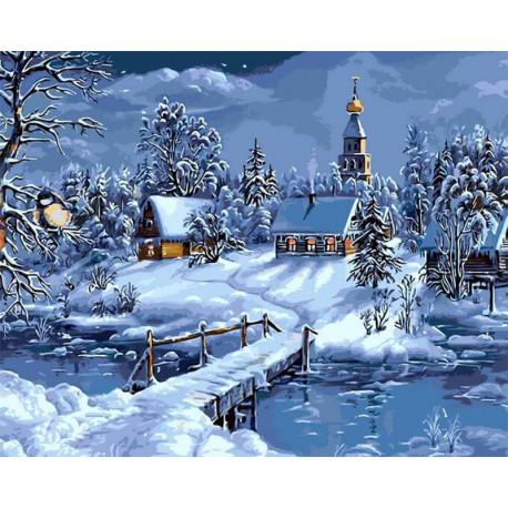 Зимняя деревня Раскраска картина по номерам на холсте MG6147