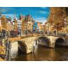 Канал в Амстердаме Раскраска картина по номерам на холсте