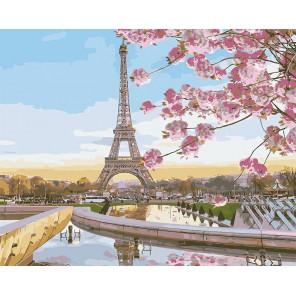 Цветущий Париж Раскраска картина по номерам на холсте MG2133