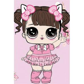Малышка в розовом платьице Раскраска картина по номерам на холсте MC1094