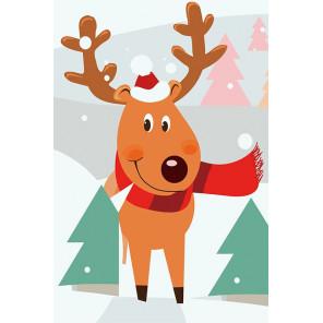 Олень рождественский Раскраска картина по номерам на холсте MC1091