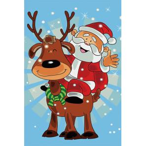 Санта на олене Раскраска картина по номерам на холсте MC1087