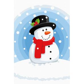 Снеговик Раскраска картина по номерам на холсте MC1090