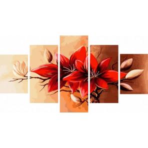 Красный цветок Модульная картина по номерам на холсте с подрамником WX1039