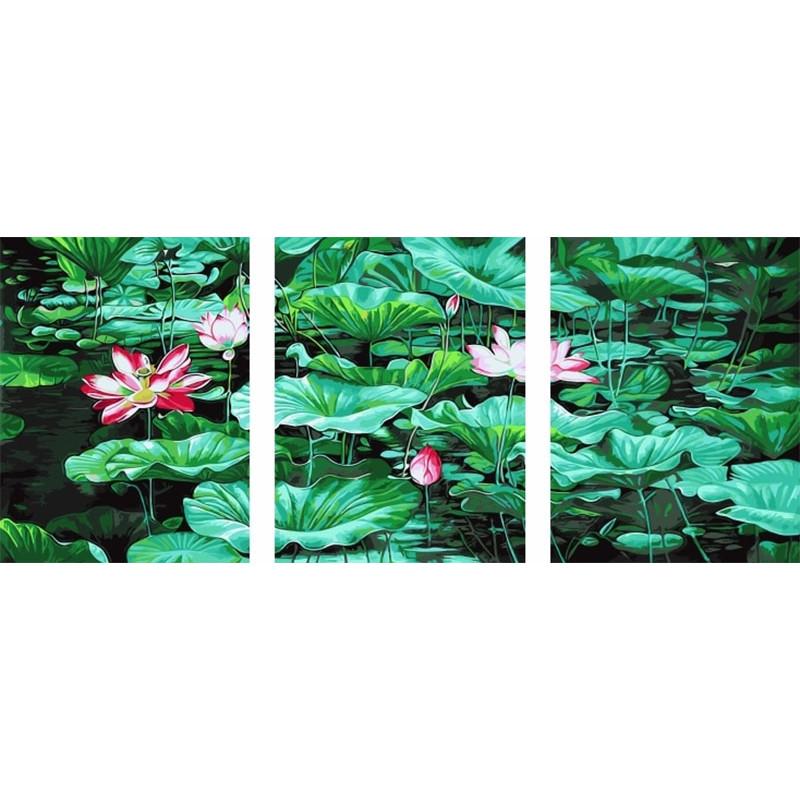 PX5120 Кувшинки Триптих Раскраска картина по номерам на ...