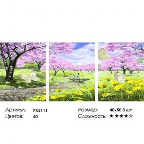 Сложность и количество цветов Весенний сад Триптих Раскраска картина по номерам на холсте PX5111