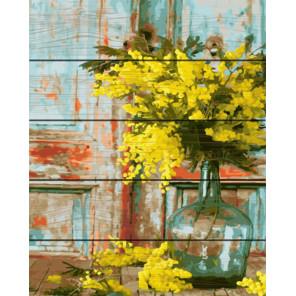 Желтые мимозы Картина по номерам на дереве PKT22062