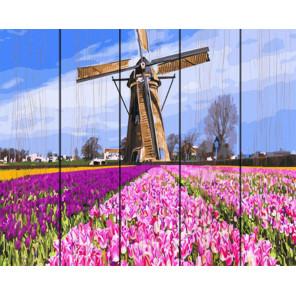 Тюльпаны и мельница Картина по номерам на дереве GXT29433