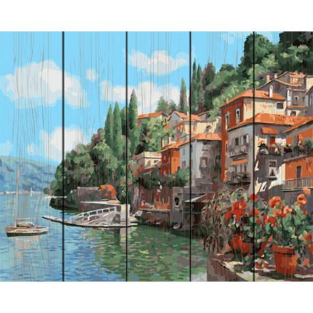 Городок у моря Картина по номерам на дереве GXT26066