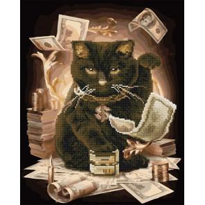 Денежный кот Алмазная картина-раскраска по номерам на подрамнике GZS1067