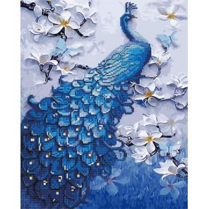 Синий павлин Алмазная картина-раскраска по номерам на подрамнике GZS1060