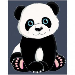 Малыш панда 100х125 Раскраска картина по номерам на холсте