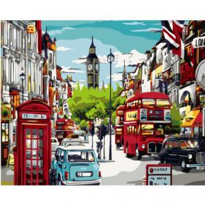 Улица Лондона, Биг Бен 100х125 Раскраска картина по номерам на холсте