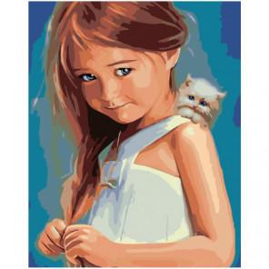 Девочка с котенком 80х100 Раскраска картина по номерам на холсте