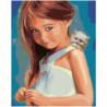Девочка с котенком 100х125 Раскраска картина по номерам на холсте