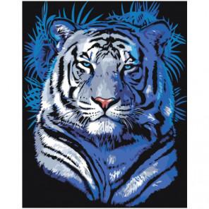 Тигр в голубых оттенках Раскраска картина по номерам на холсте